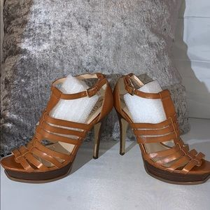 GUESS OPEN TOES HEELS SIZE 7-1/2 M brown leather
